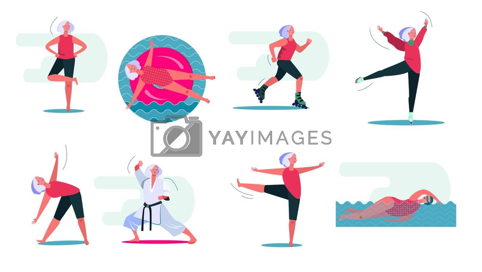 Fitness activities set. Woman swimming in pool, doing yoga, roller skating. People concept. Vector illustration for topics like leisure, movement, active lifestyle