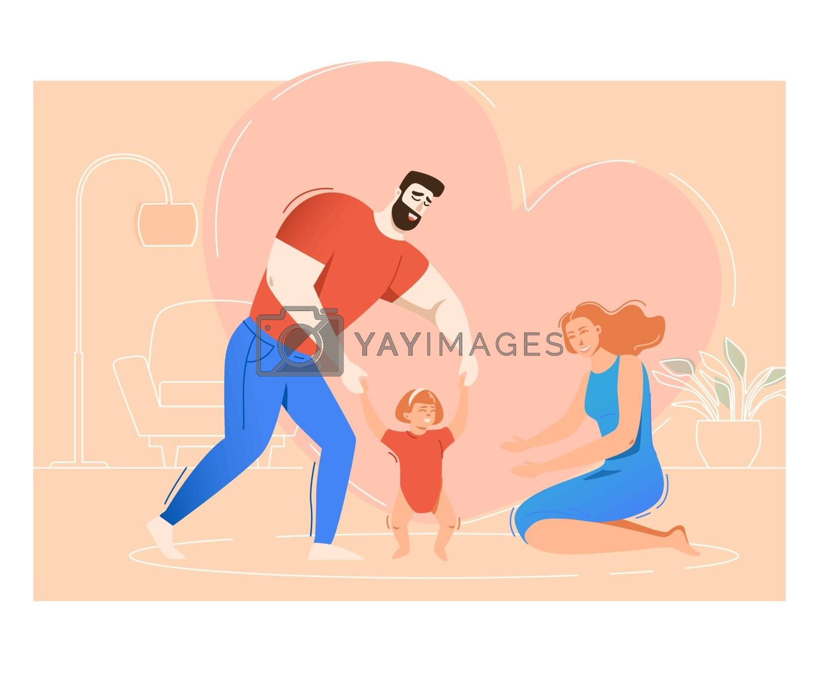 Mother and father Training daughter to walk. Parents helping toddler to make her first steps. Family concept. Vector illustration for topics like love, childhood, development