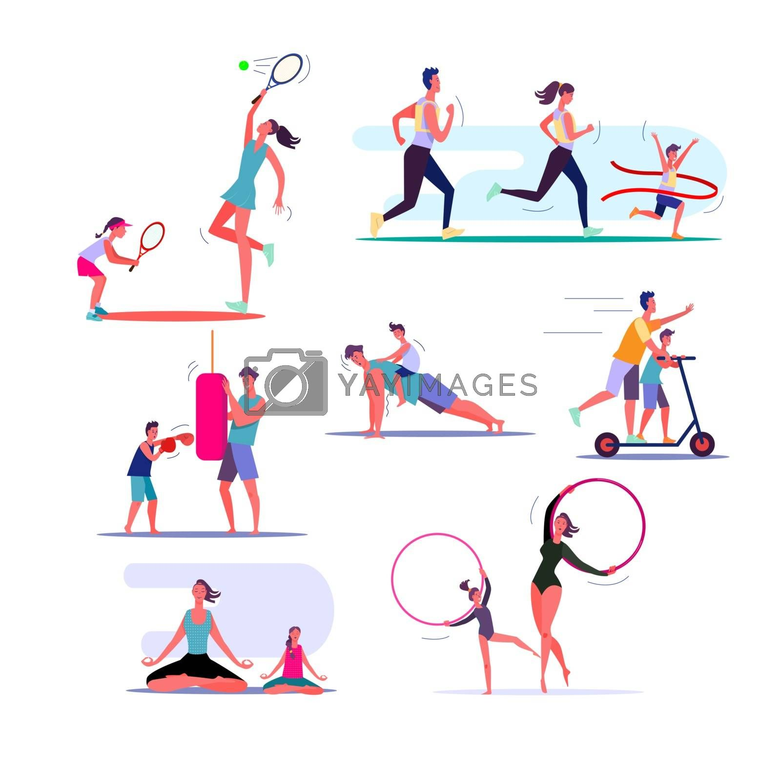 Set of families exercising. Parents and children doing different sports together. Healthy family concept. Vector illustration can be used for presentation, project, webpage
