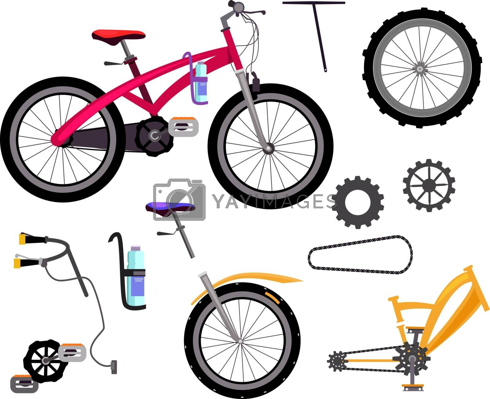 Bicycle details set. Wheel, chain, seat. Driving vehicle concept. Vector illustration can be used for topics like sport, activity, lifestyle