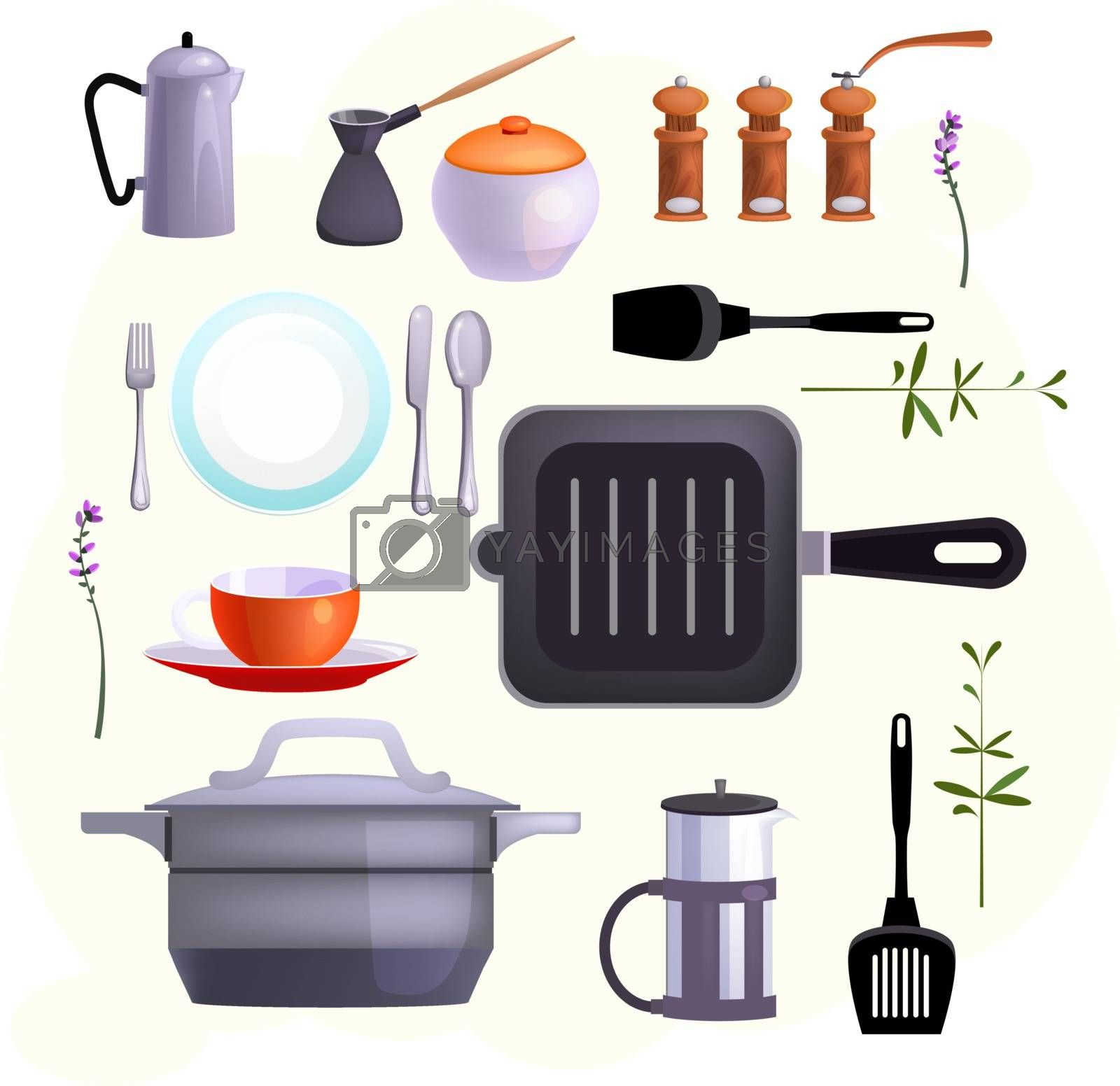 Kitchen equipment icons. Set of line icons. Cutlery, cup, French press. Cooking concept. Illustrations can be used for topics like kitchen, cooking, eating