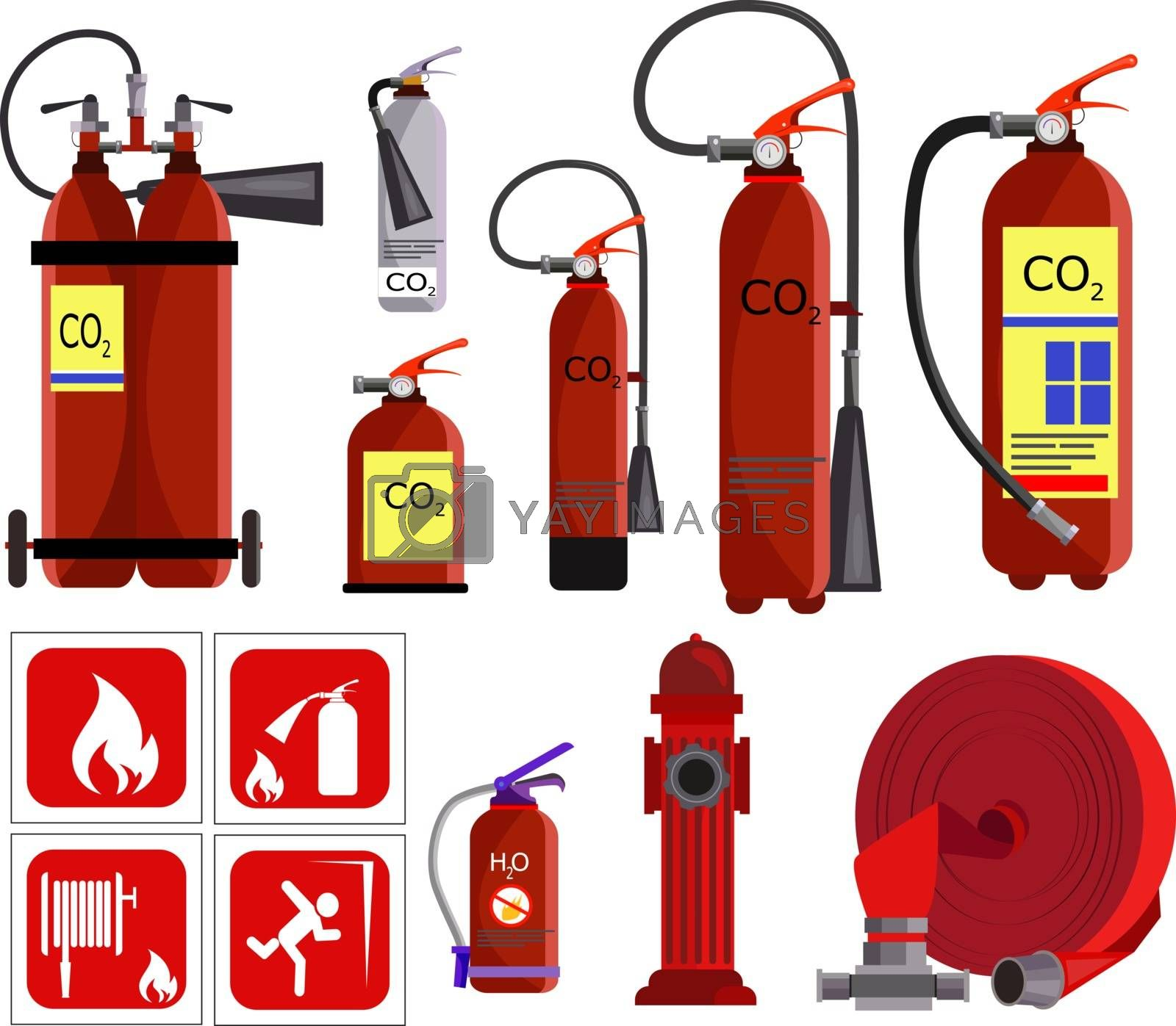 Fire extinguisher icons set. Flat icons on white background. Balloon, fire hydrant, water balloon. Fire service concept. Vector illustration can be used for topics like social service, danger, fire
