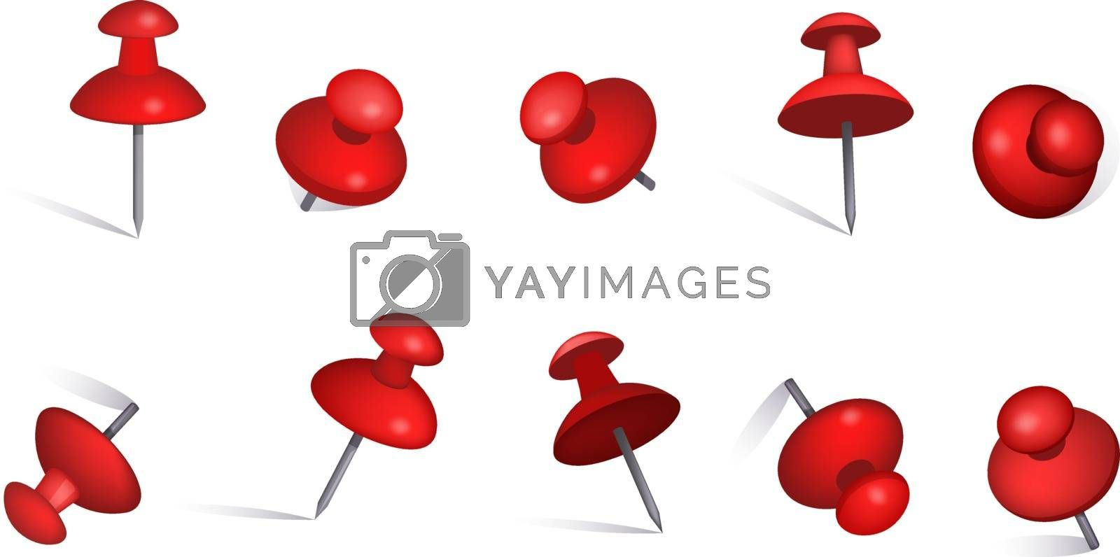 Set of red paper pins. Thumbtack, note, information. Can be used for topics like background, collection, reminder