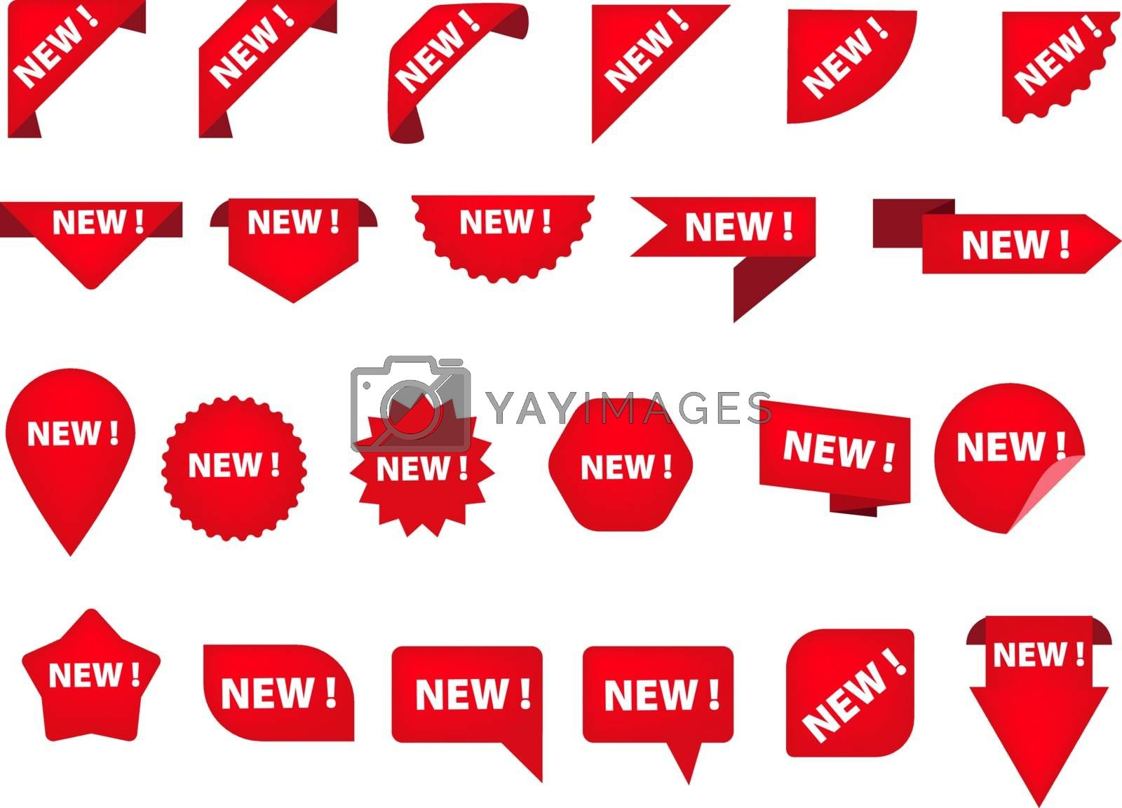 Set of various tags with New inscription. Product, label, information. Can be used for topics like background, collection, shopping