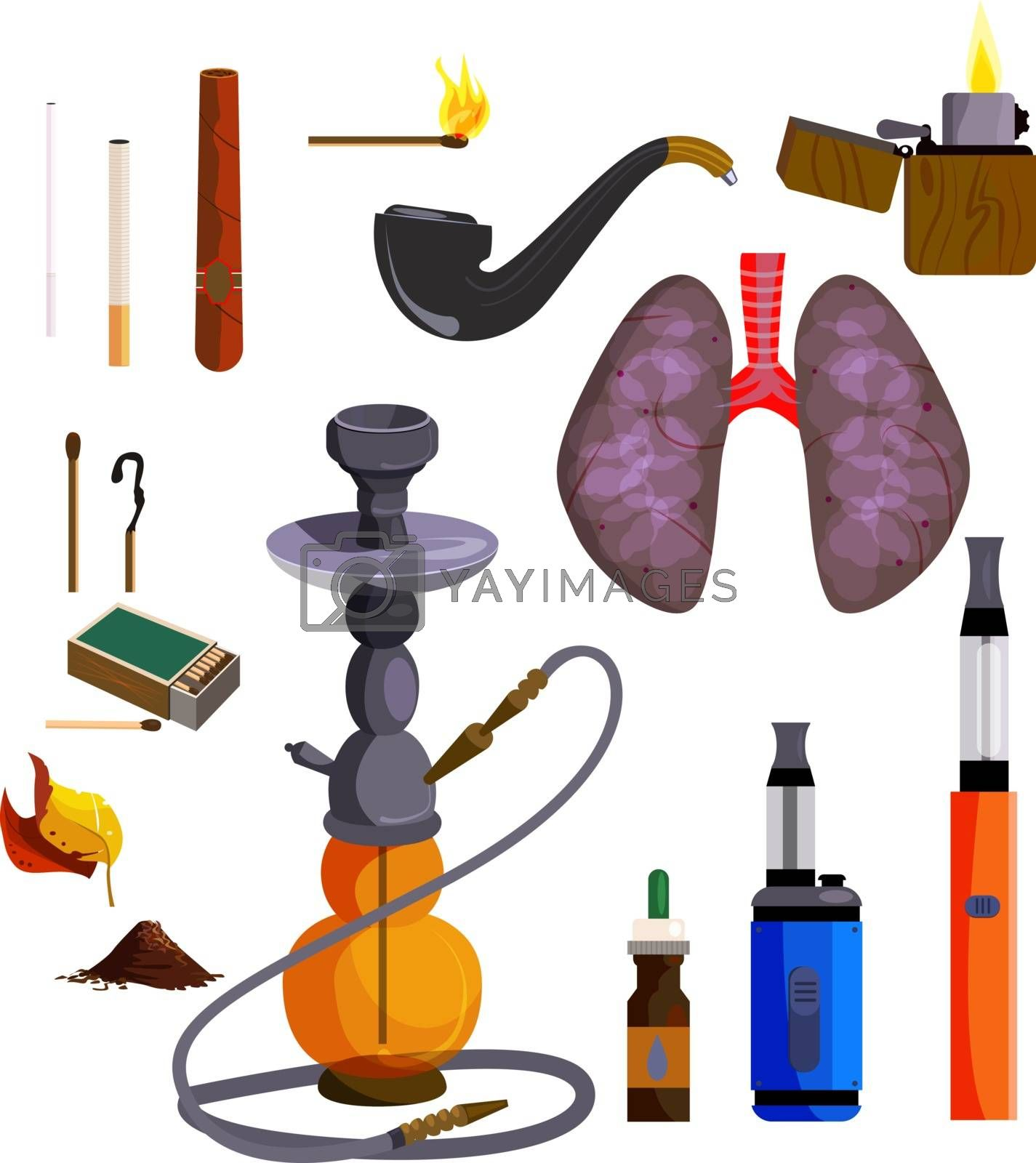 Smoking devices icons set. Vector icons collection on white background, Hookah, lungs, cigar, cigarette. Smoking concept. Illustration can be used for topics like tobacco shop, unhealthy lifestyle