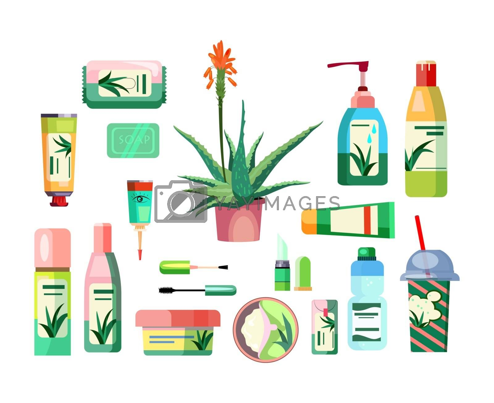 Aloe products set. Natural body care products collection. Can be used for topics like skin care, cosmetics, beauty