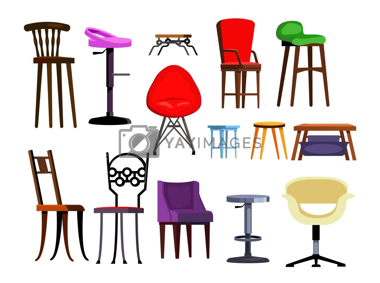 Chairs set illustration. Different chairs on white background. Can be used for topics like house interior, design, furniture