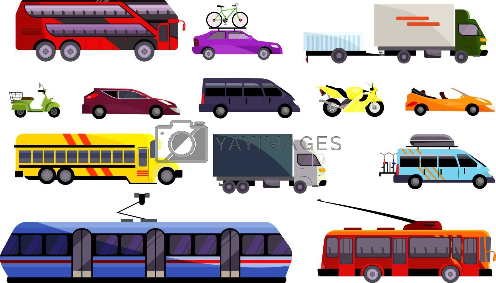 Set of various land vehicles. Automobiles, public transport, trucks. Can be used for topics like transports, infrastructure, transportation