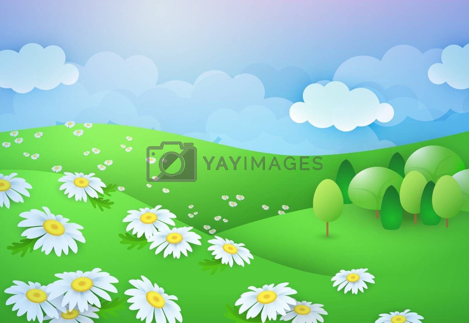 Summer daisy field. Clouds on sky, trees on hill. Can be used for topics like nature, landscape, ecology