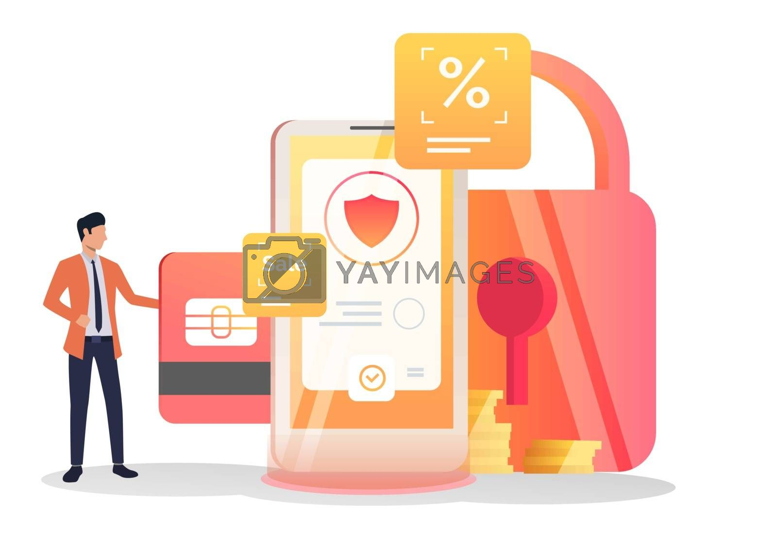 Business leader inserting credit card into cell. Smartphone, lock, shield. Security concept. Vector illustration for layouts, landing pages, website templates
