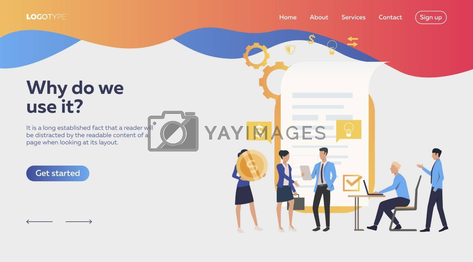 Business people awarding contract. Money, deal, partners. Business concept. Vector illustration for webpage, presentation, poster