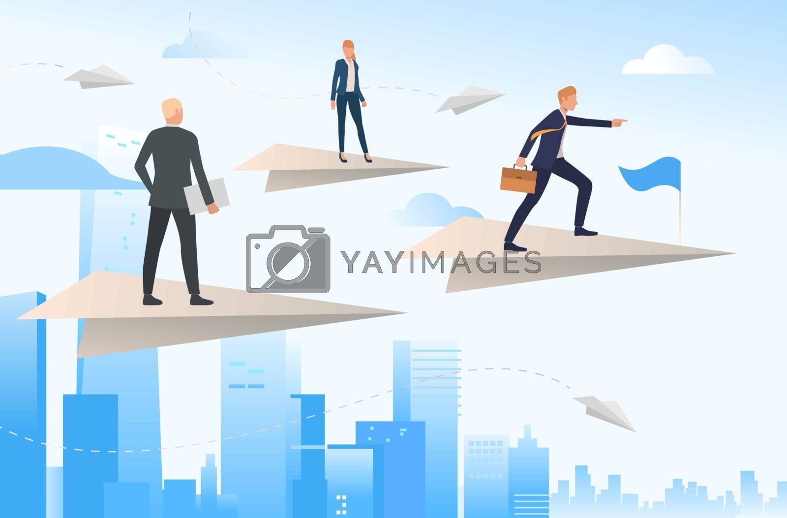 Business people standing on flying paper planes. Challenge, opportunity, travel, teamwork. Leadership concept. Vector illustration for topics like business, development, success