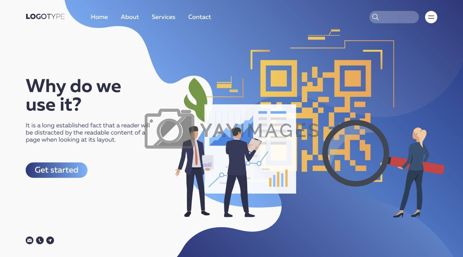 Business people analyzing barcode. Devices, diagrams, magnifying glass. Business concept. Vector illustration for webpage, presentation, poster