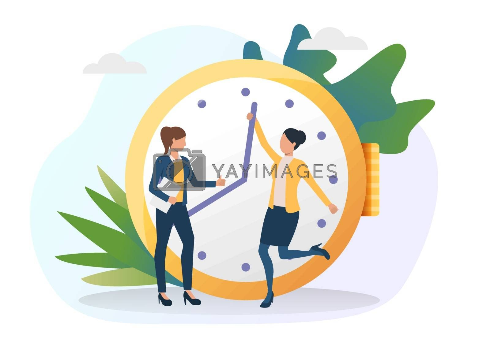 Business women moving clock hands ahead. Colleagues standing at clock, showing thumb up. Time management concept. Vector illustration for posters, presentation slides, landing pages