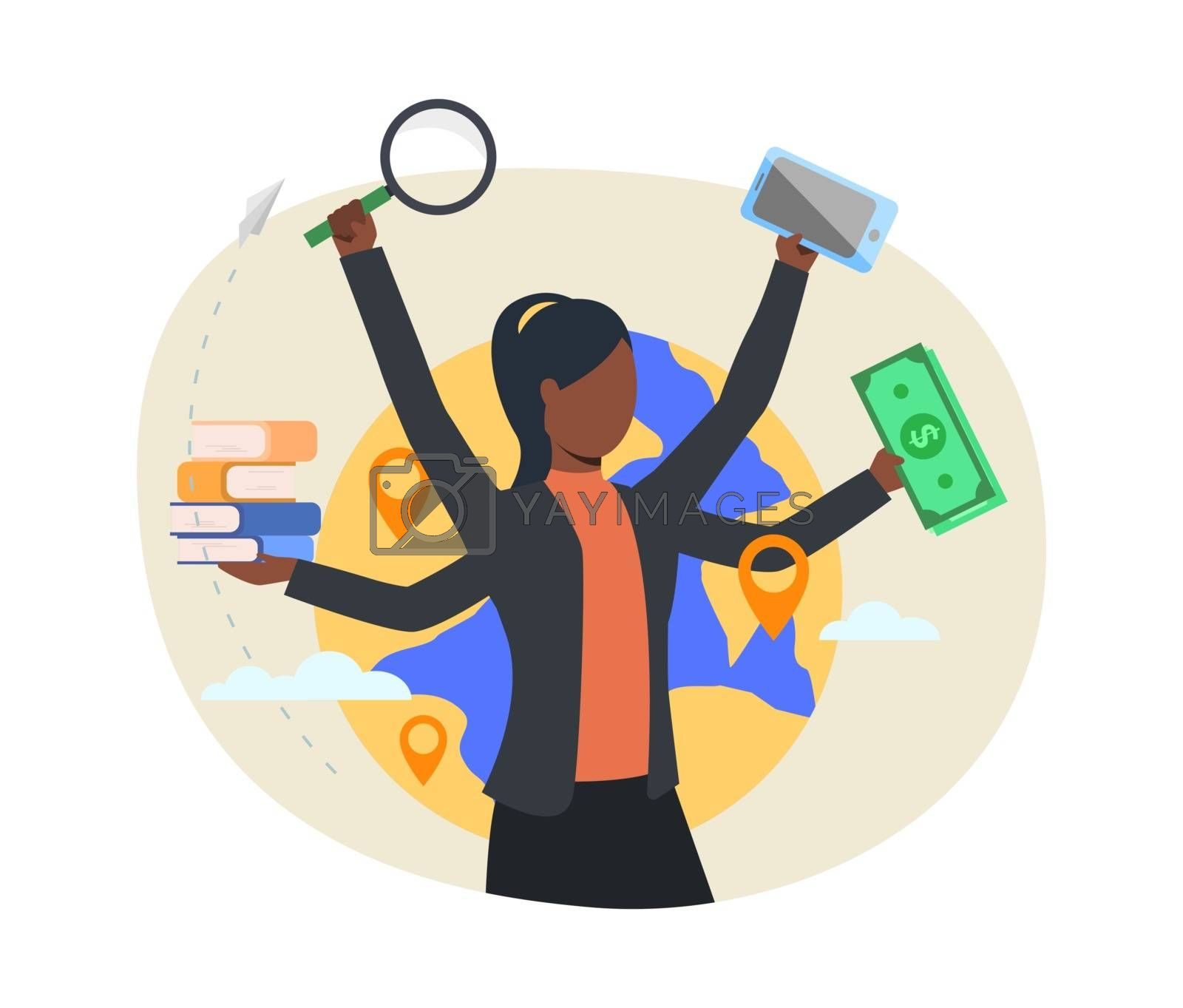 Busy professional webpage. Businesswoman holding money, books, magnifying glass, smartphone. Multitasking concept. Vector illustration for topics like business, lifestyle, stress