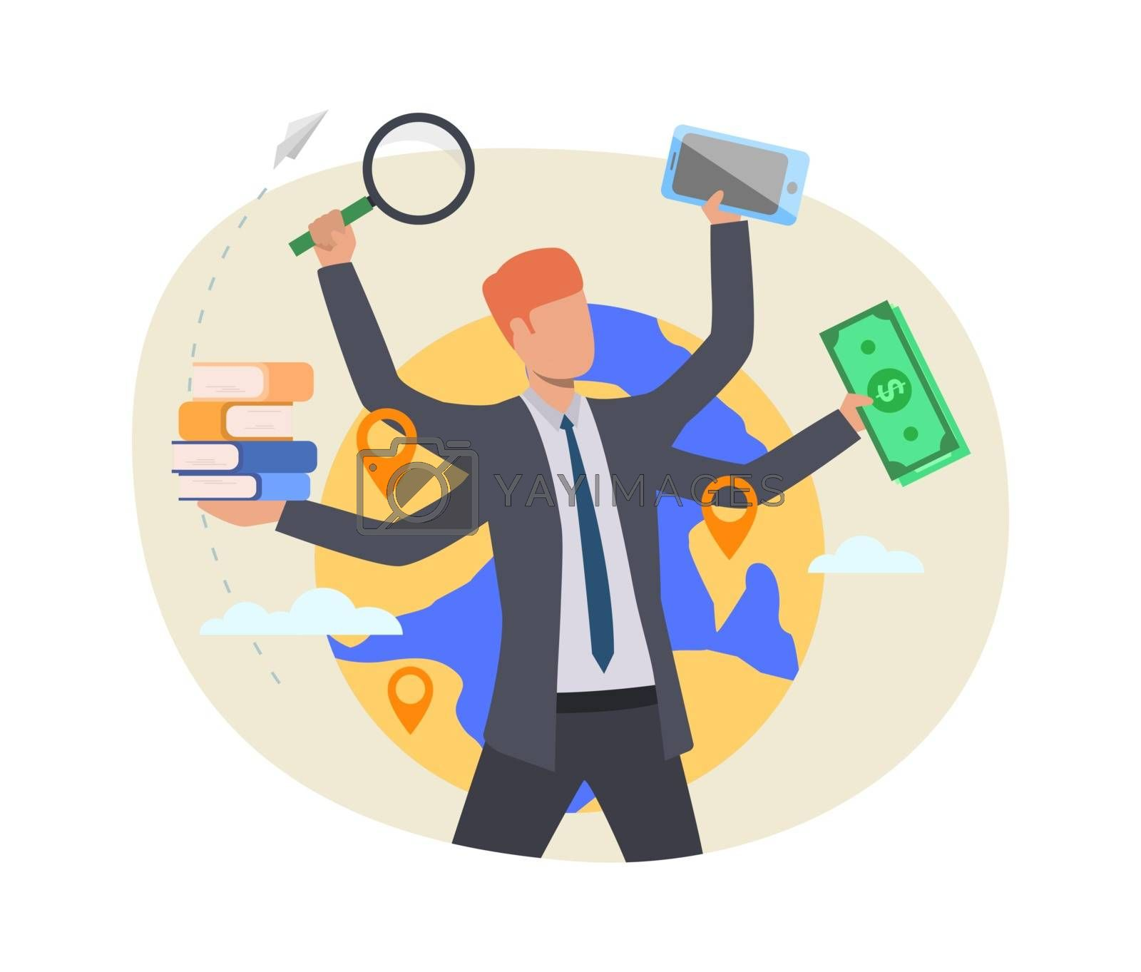 Busy professional illustration. Businessman holding money, books, magnifying glass, smartphone. Multitasking concept. Vector illustration for topics like business, lifestyle, stress