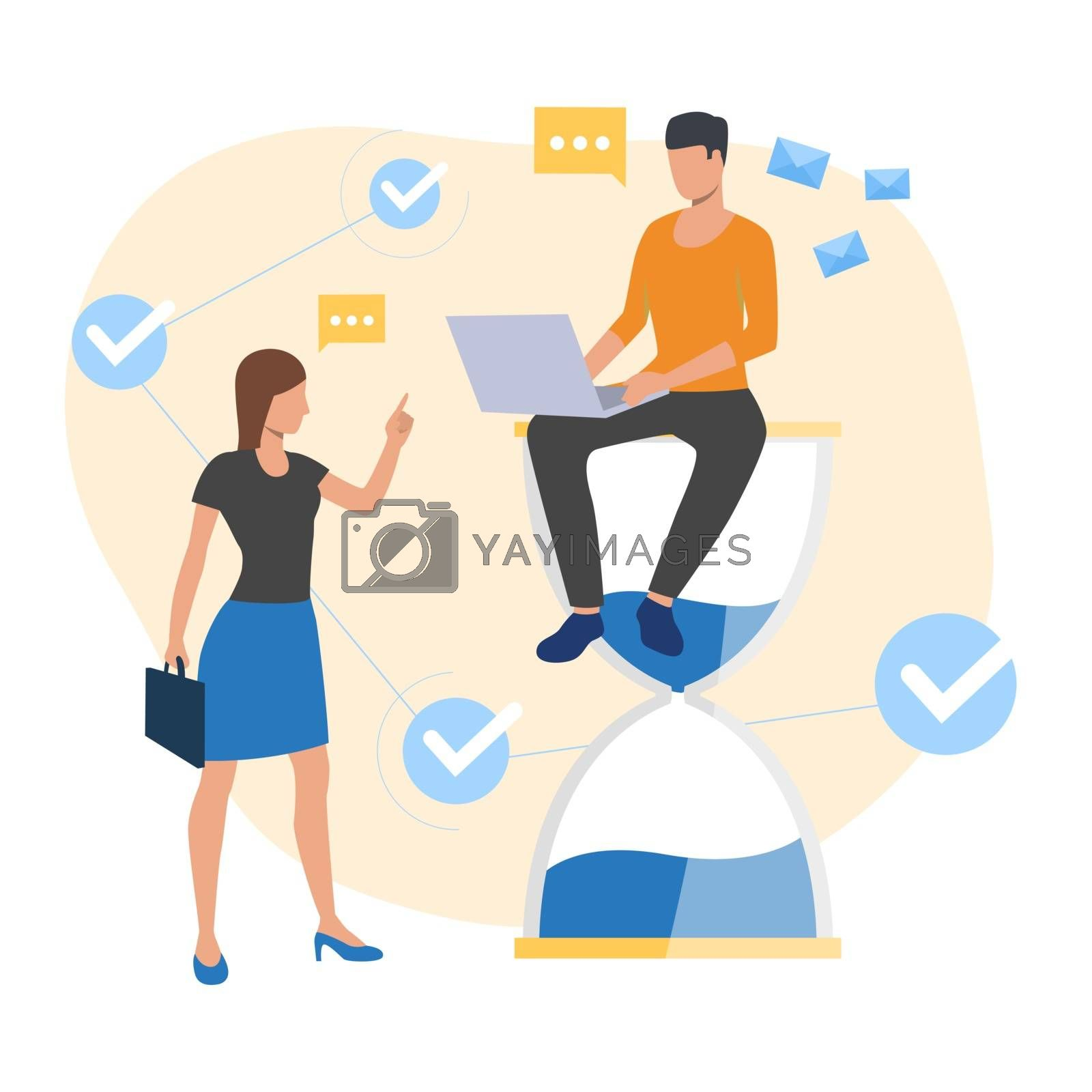 Employee sitting on sandglass and working. Computer, boss, customer. Time concept. Vector illustration for topics like time management, deadline, communication