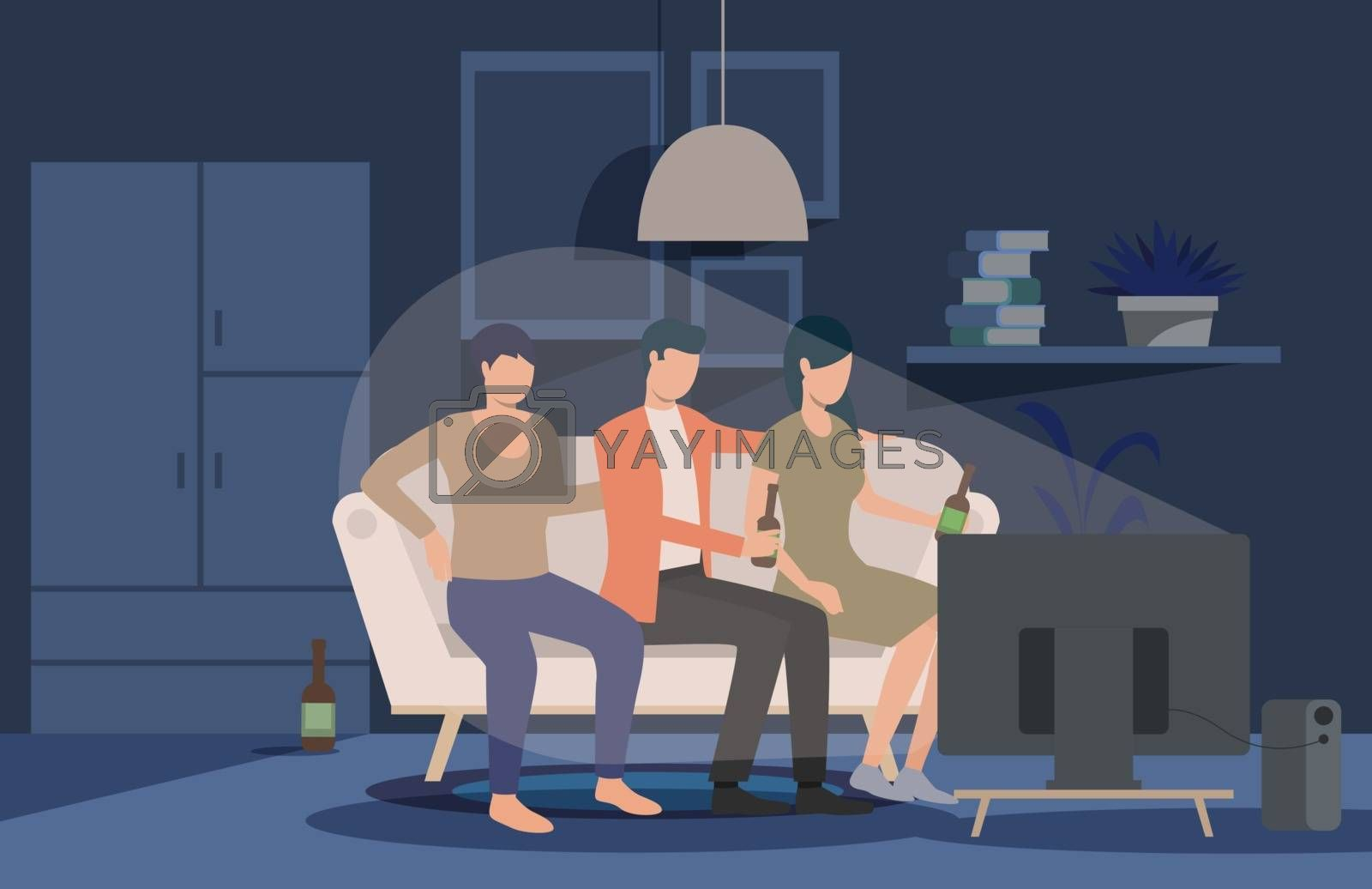 Friends watching movie at home landing page. People sitting on couch at TV, eating pop corn, drinking beer. Leisure concept. Vector illustration for topics like meeting, friendship, party