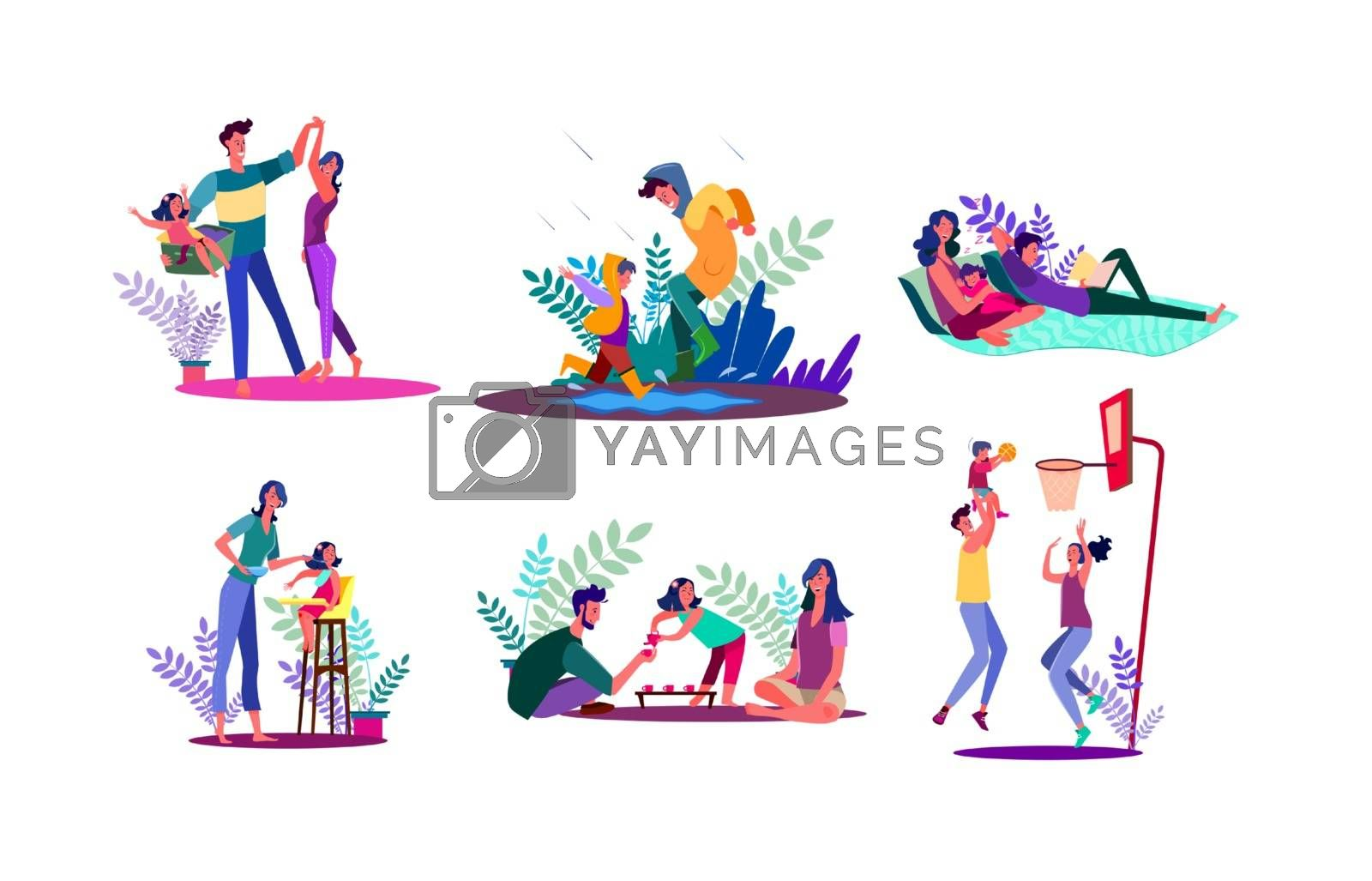 Family spending time together set. Parents and children walking outdoors, playing games, relaxing. Flat vector illustrations. Parenthood concept for banner, website design or landing web page