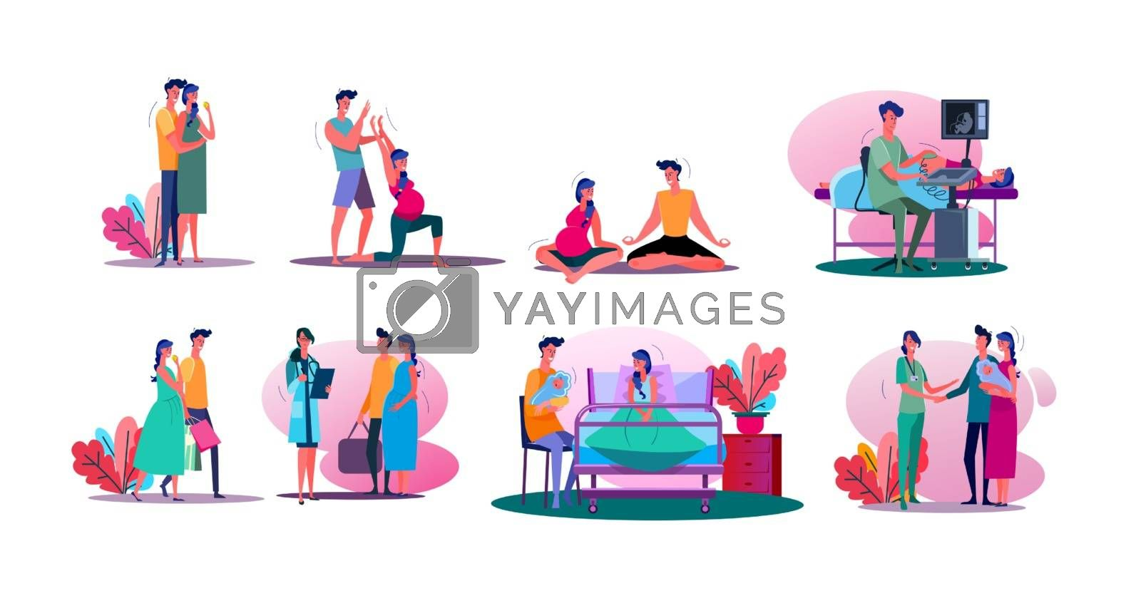 Having baby set. Pregnant couple doing yoga, walking outdoors, visiting doctor, holding baby. Flat vector illustrations. Parenthood concept for banner, website design or landing web page