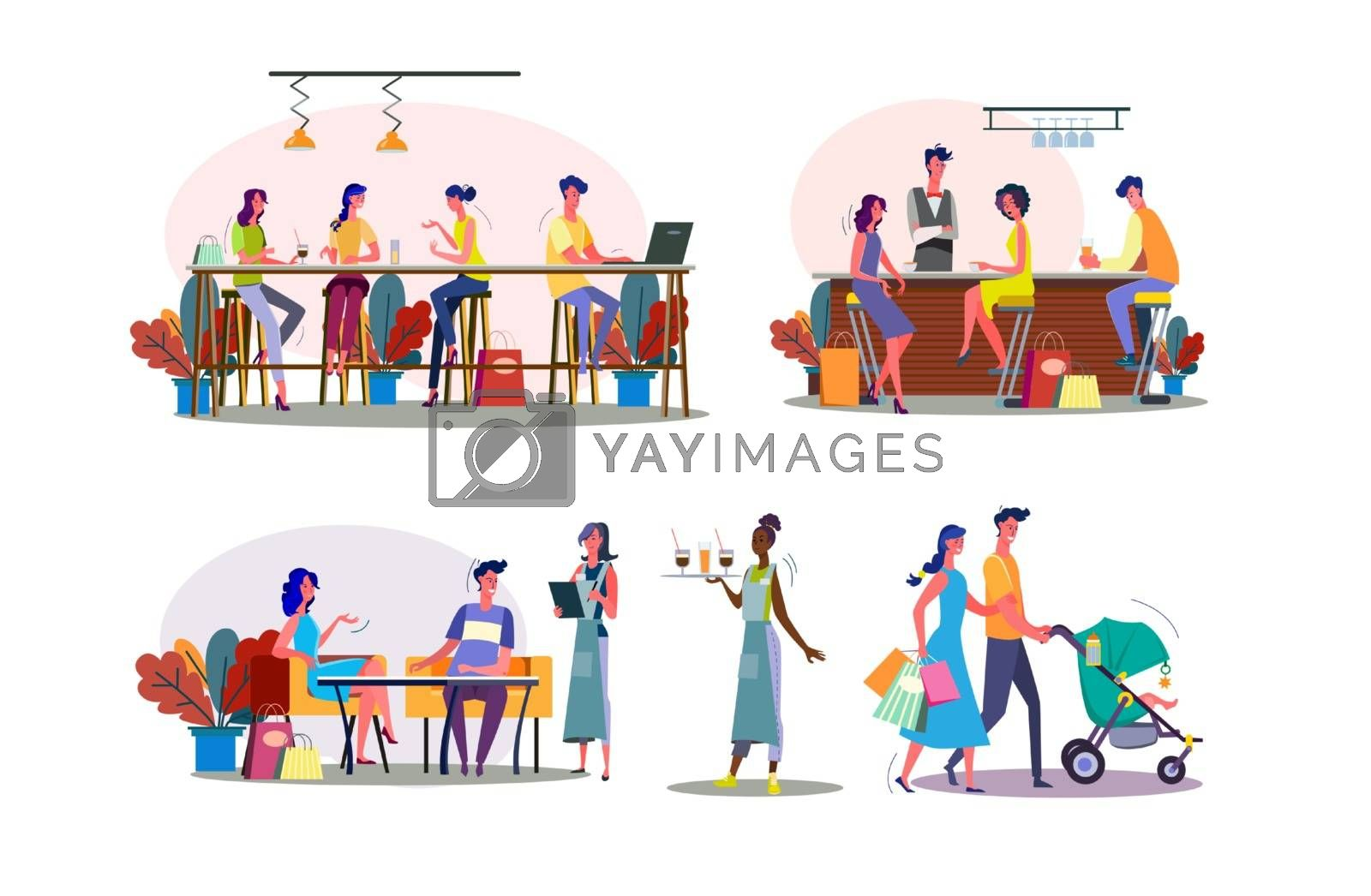 Leisure time together illustration set. Family couple walking with child, friends meeting in bar or cafe. Communication concept. Vector illustration for banners, posters, website design