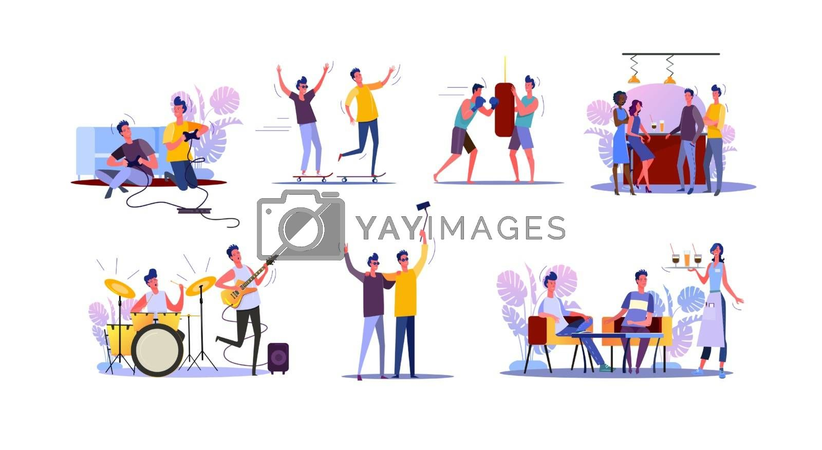 Male friends spending time together set. Two guys playing video game, guitar, boxing, drinking in bar. Flat vector illustrations. Friendship concept for banner, website design or landing web page