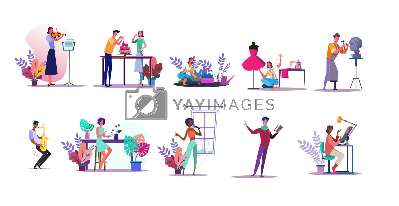 Vocation illustration set. People playing violin, sewing, gardening, cooking cake. Creativity concept. Vector illustration for topics like hobby, occupation, lifestyle