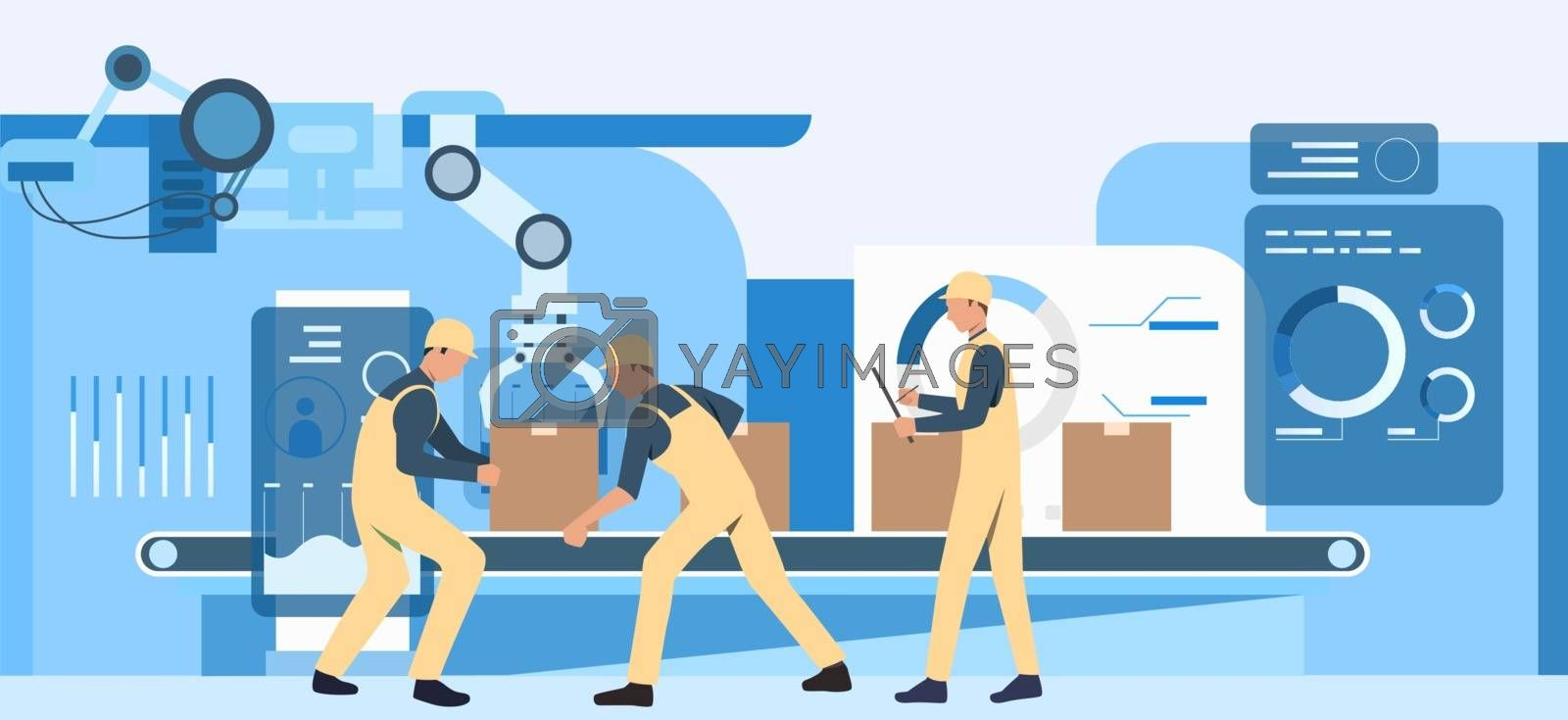 People working at factory webpage. Operational workers, conveyor belt, assembly line. Industry concept. Vector illustration for topics like production, machine, blue color