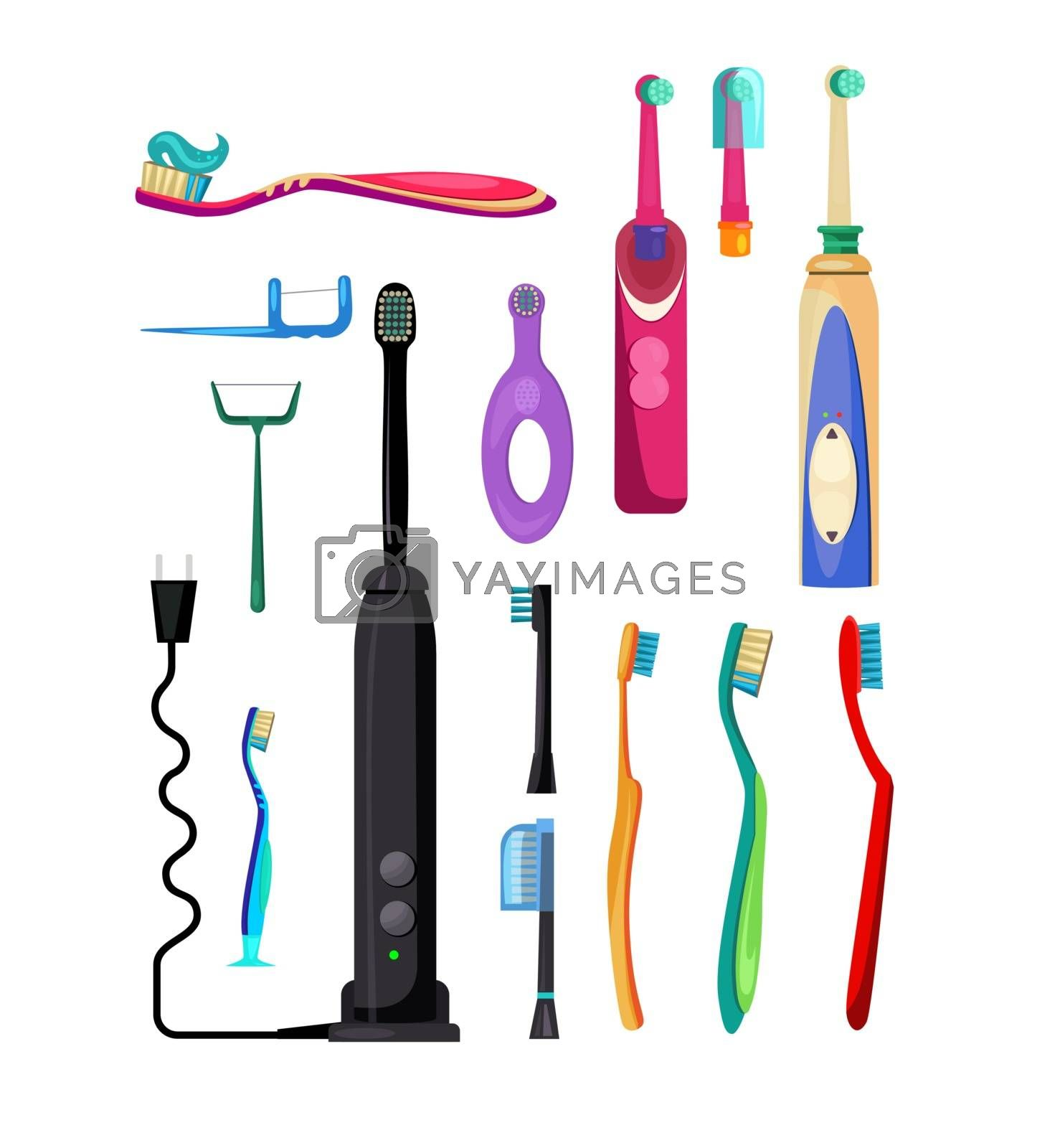 Electric and simple toothbrushes set. Collection for oral hygiene. Can be used for topics like dentistry, oral health, bathroom