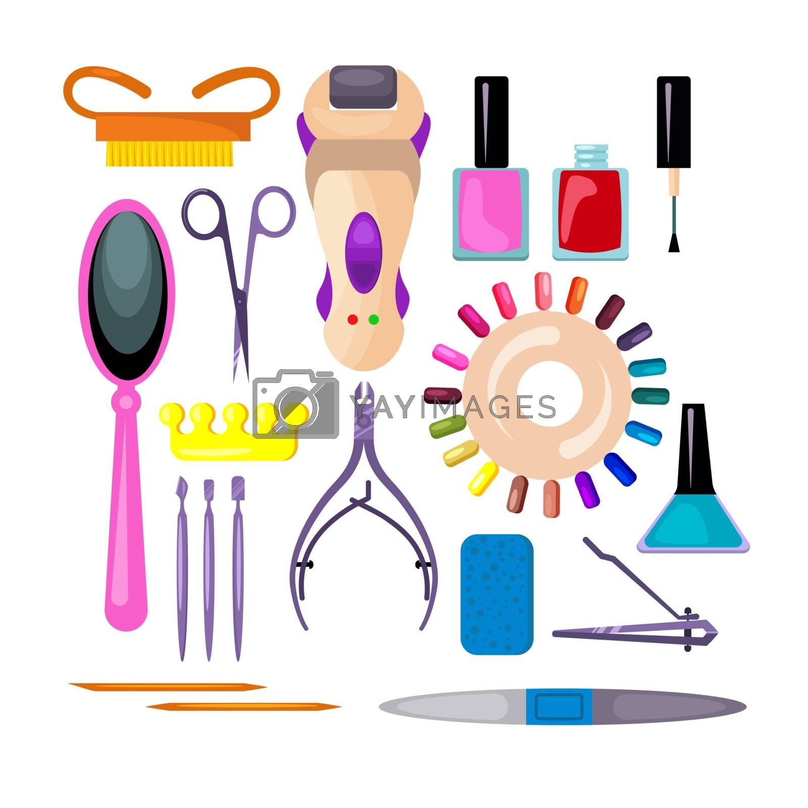 Manicure and pedicure set. Collection for fingernail design. Can be used for topics like salon, treatment, cosmetology