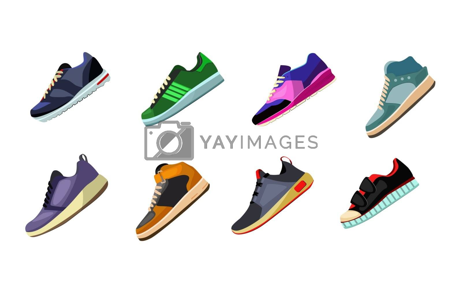 Sport shoes and sneakers set. Modern sportswear collection. Can be used for topics like fitness, fashion, activity