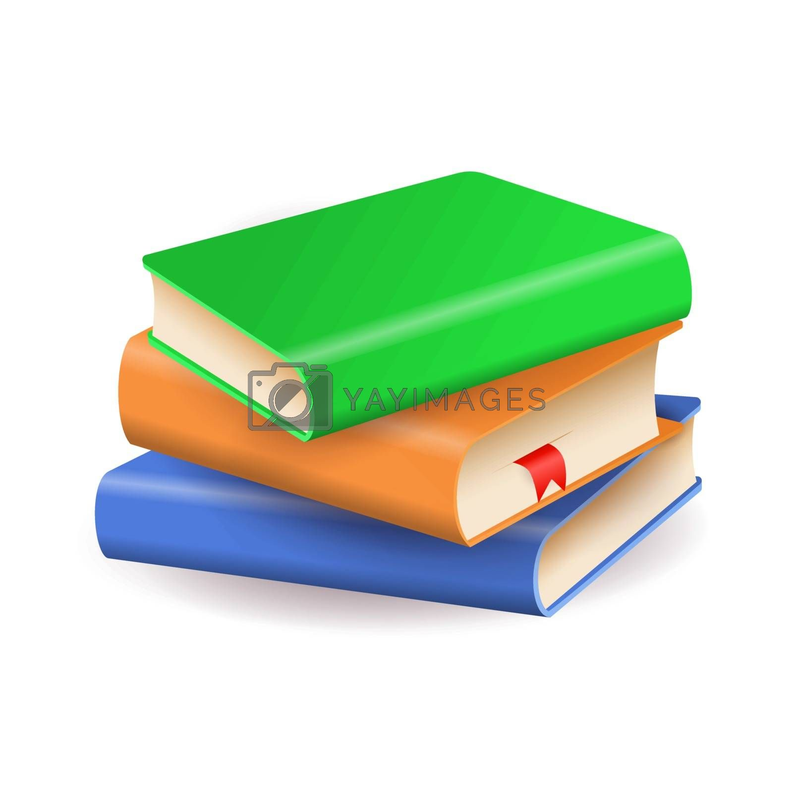 Stack of colorful books. Literature, information, knowledge. Can be used for topics like leisure, education, publication