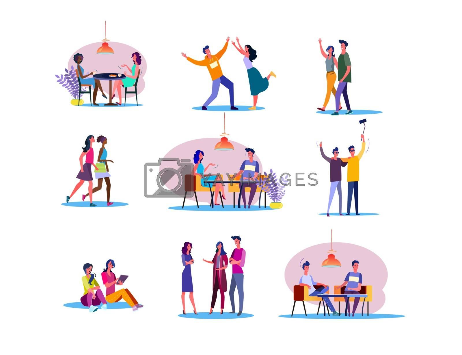 Happy friends set. Men and women eating in cafe, dancing, doing shopping, taking selfie together. Flat vector illustrations. Friendship concept for banner, website design or landing web page