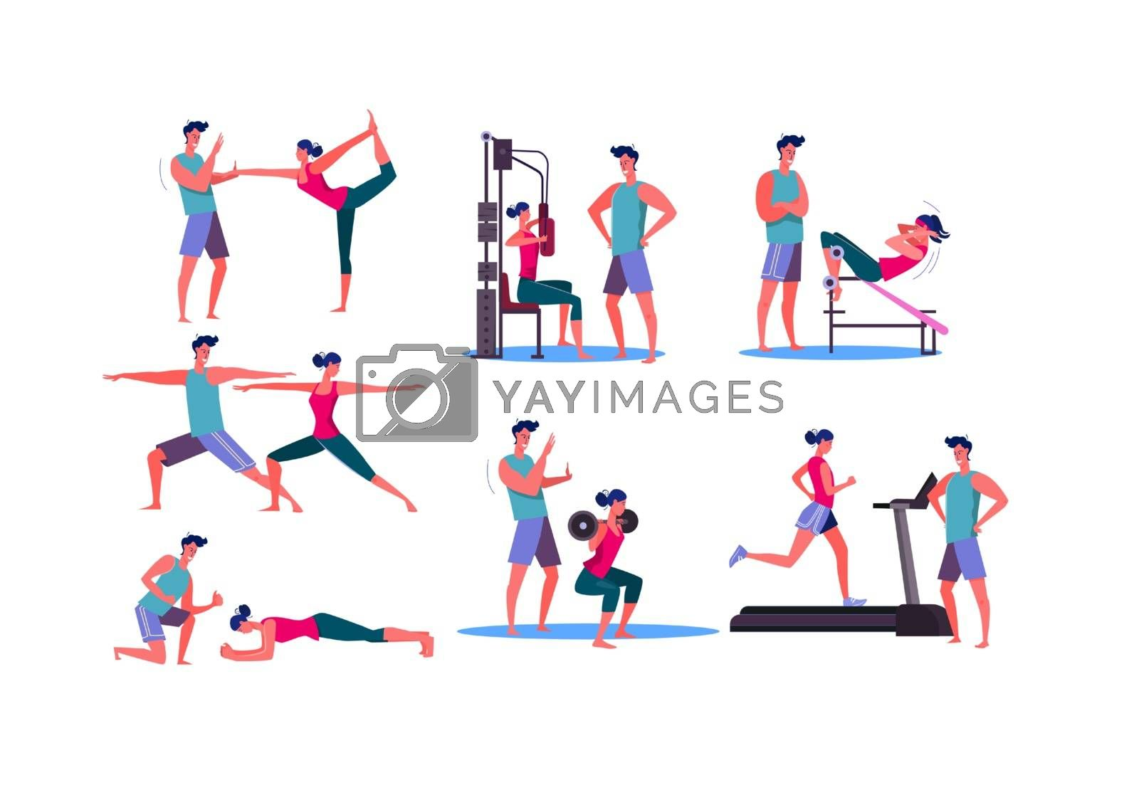 Set of sporty woman training at gym. Flat vector illustrations of young sportswoman training with trainer. Sport concept for banner, website design or landing web page