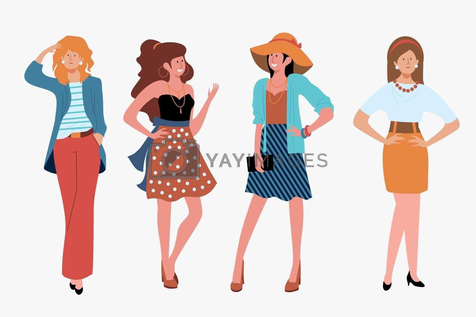 Stylish girls outdoors set. Hat, skirt, purse, high heels flat vector illustration. Fashion and style concept for banner, website design or landing web page