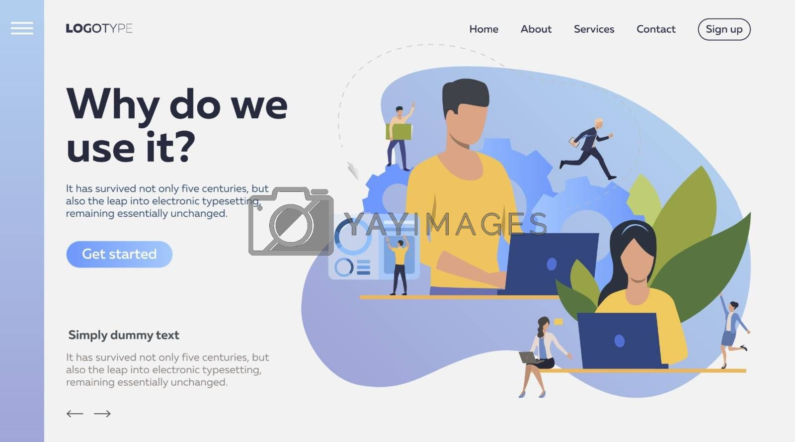 Project management flat icon. Person working at laptop, office workers, gear, team. Teamwork concept. Can be used for topics like leadership, unity, freelance, automation