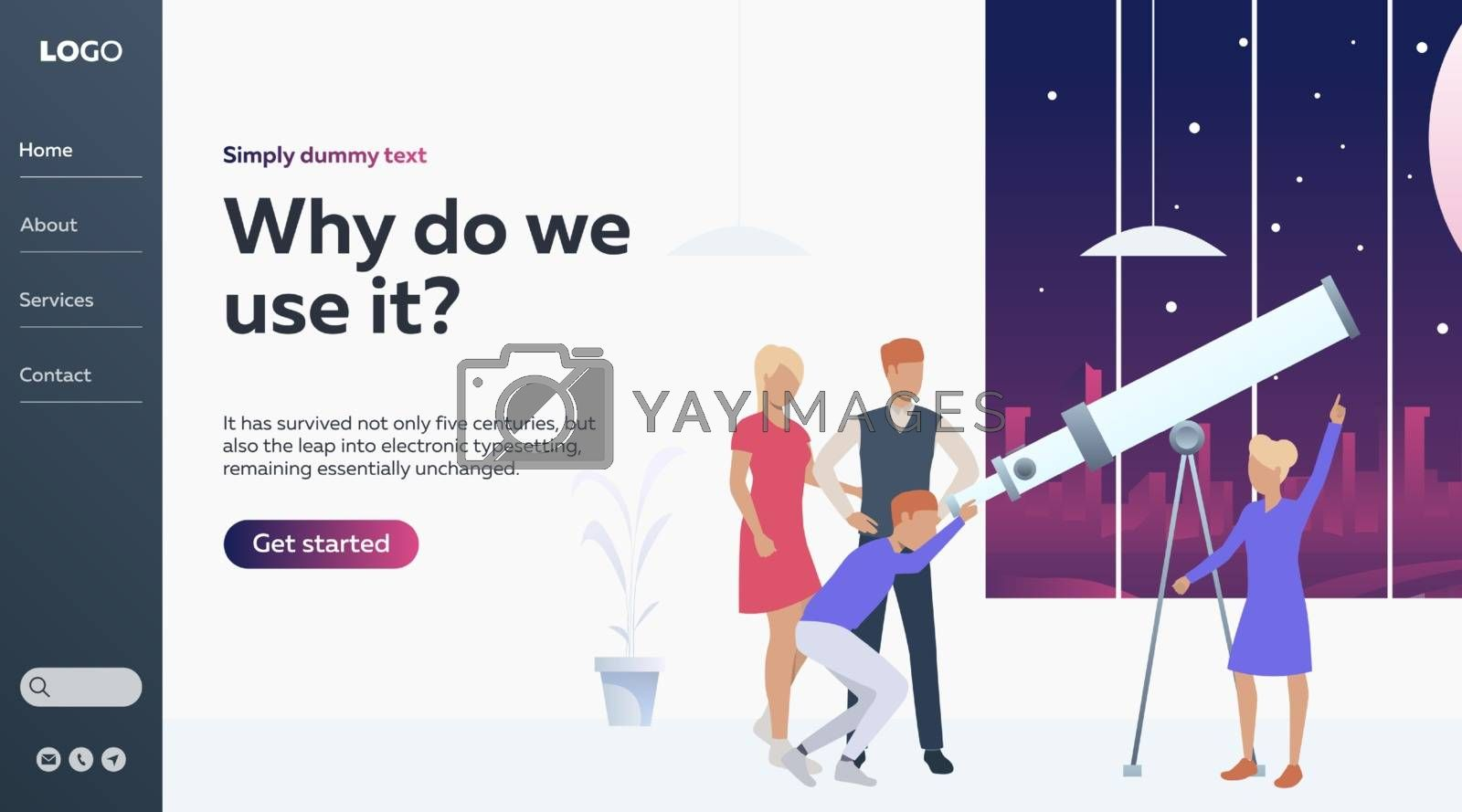 Vector illustration of family looking in sky with telescope. Leisure, observation. Astronomy concept for banner, website design or landing web page