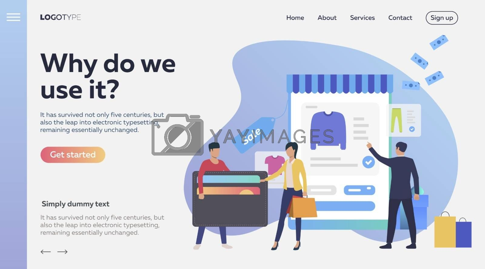 Woman paying by credit card for online purchase. Payment, internet store, customer. Commerce concept. Vector illustration for advertising, layout, landing page template