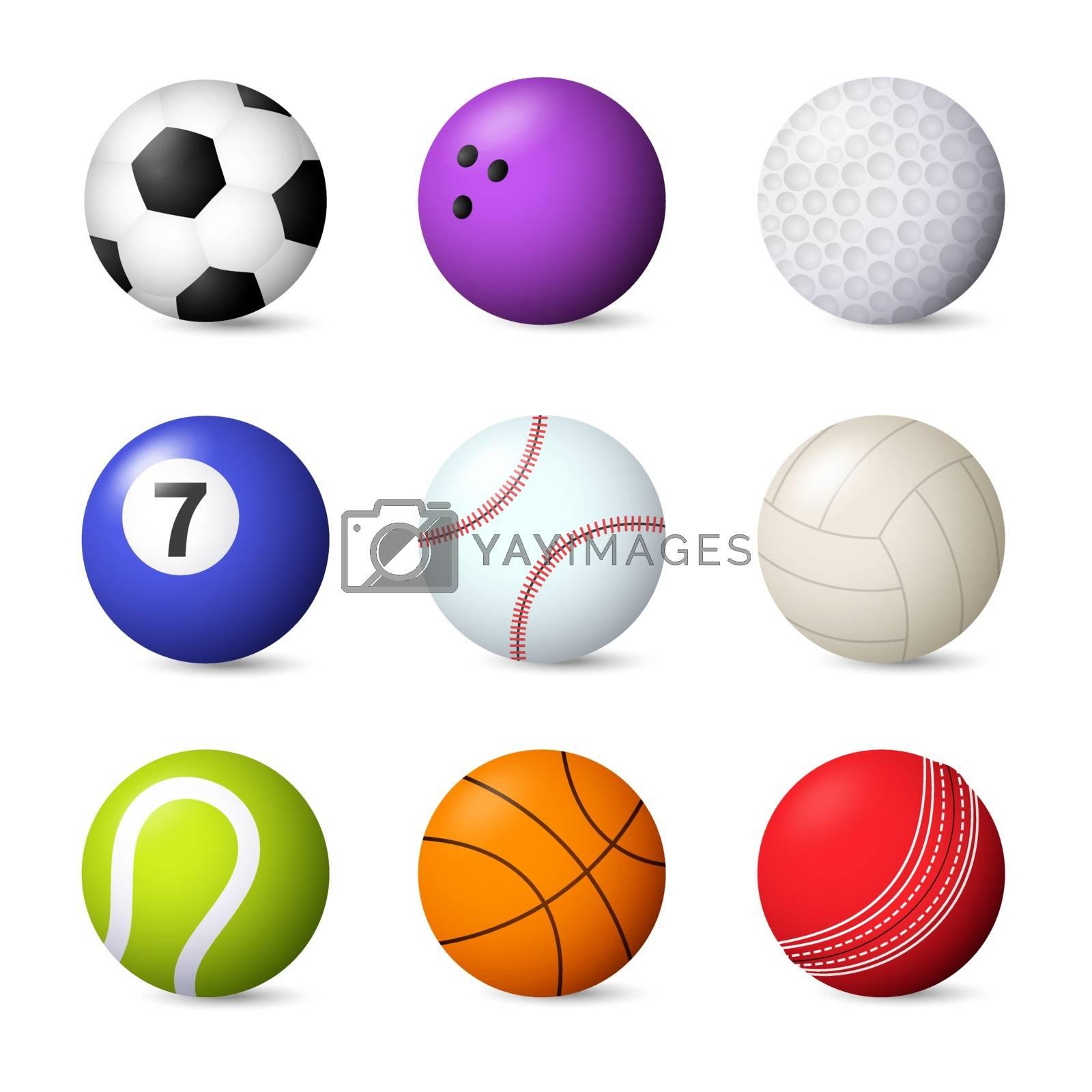 Balls set vector illustration. Bowling, baseball, football, snooker, tennis. Ball games concept. Vector illustration can be used for topics like sport, leisure, hobby
