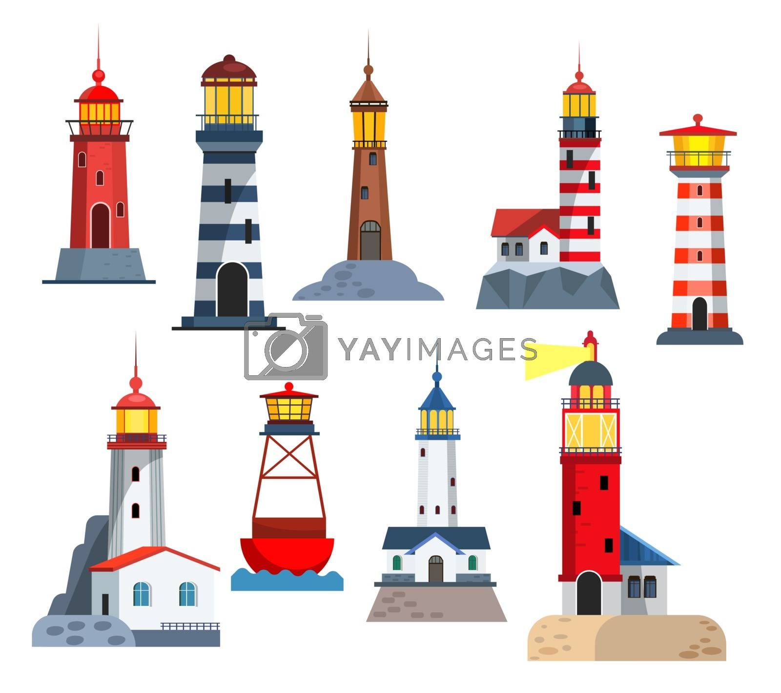 Lighthouse towers set. Collection for night signal on shore. Can be used for topics like direction, marine, storm