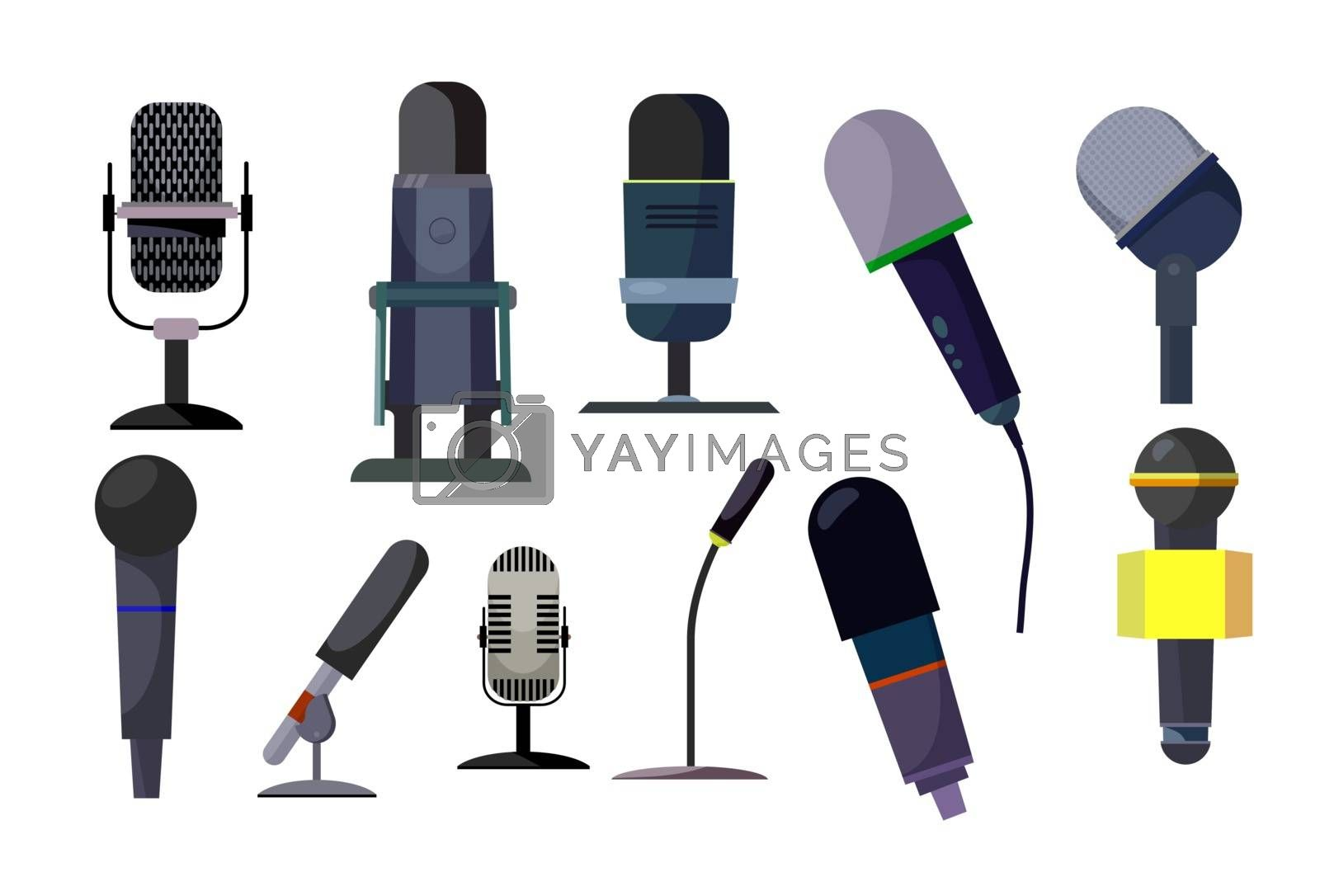 Professional microphones set. Collection of speakers. Can be used for topics like audio studio, record, radio