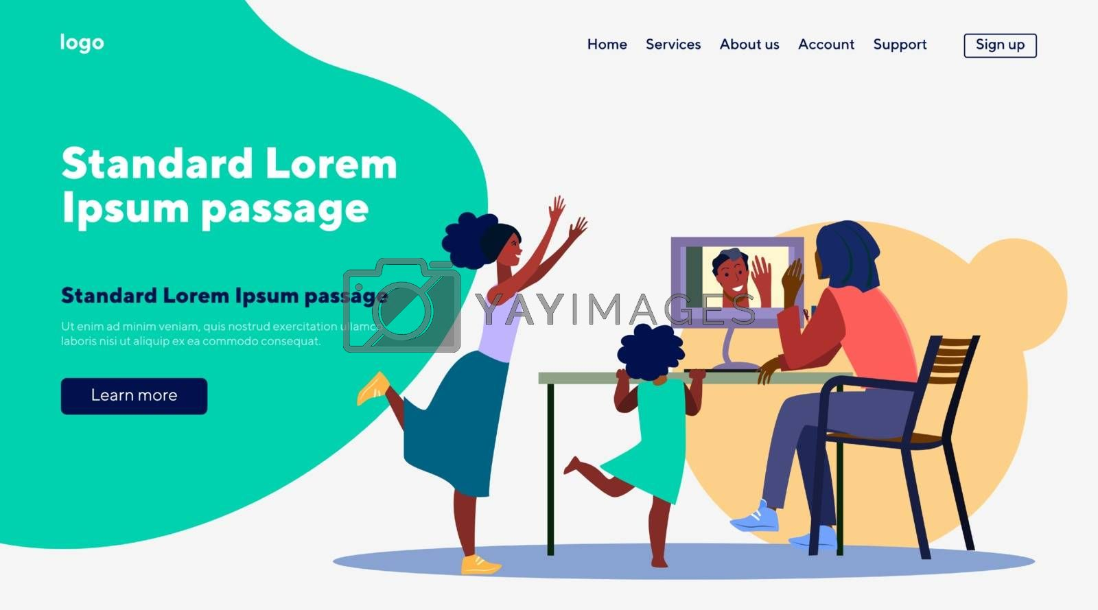 Family making video call with father. Happy people talking online flat vector illustration. Online communication, digital technology concept for banner, website design or landing web page