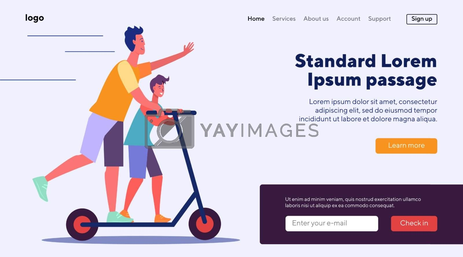 Father and son riding scooter. Elder and younger brother having fun flat vector illustration. Leisure, sport activities concept for banner, website design or landing web page