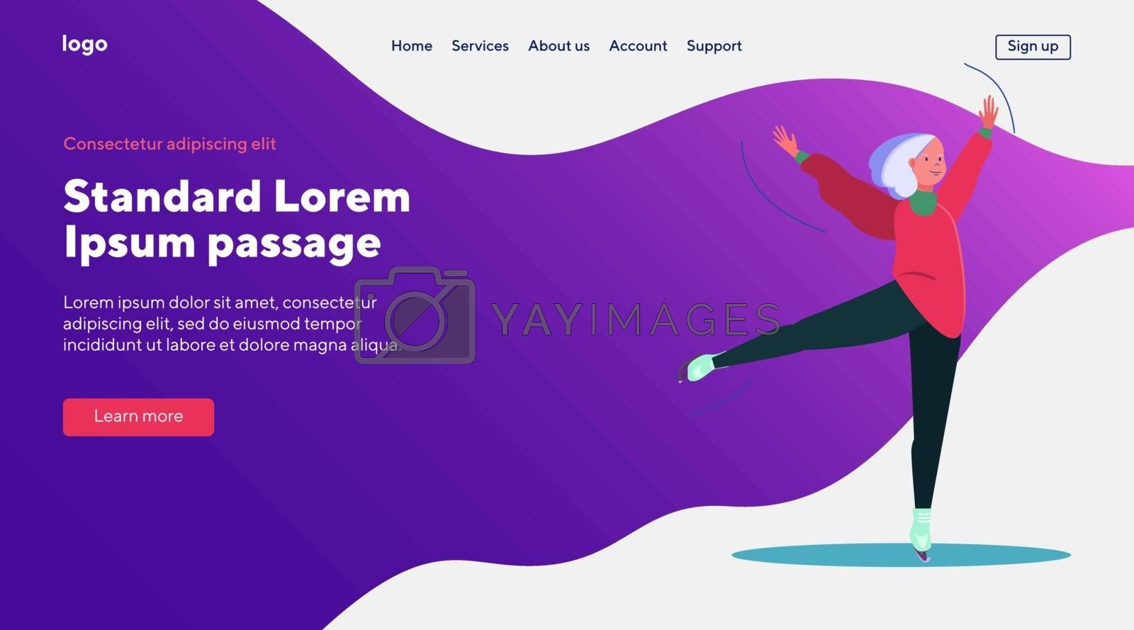 Figure ice skating. Grey haired woman skating, dancing on ice. Flat vector illustrations. Training, winter activity, hobby concept for banner, website design or landing web page