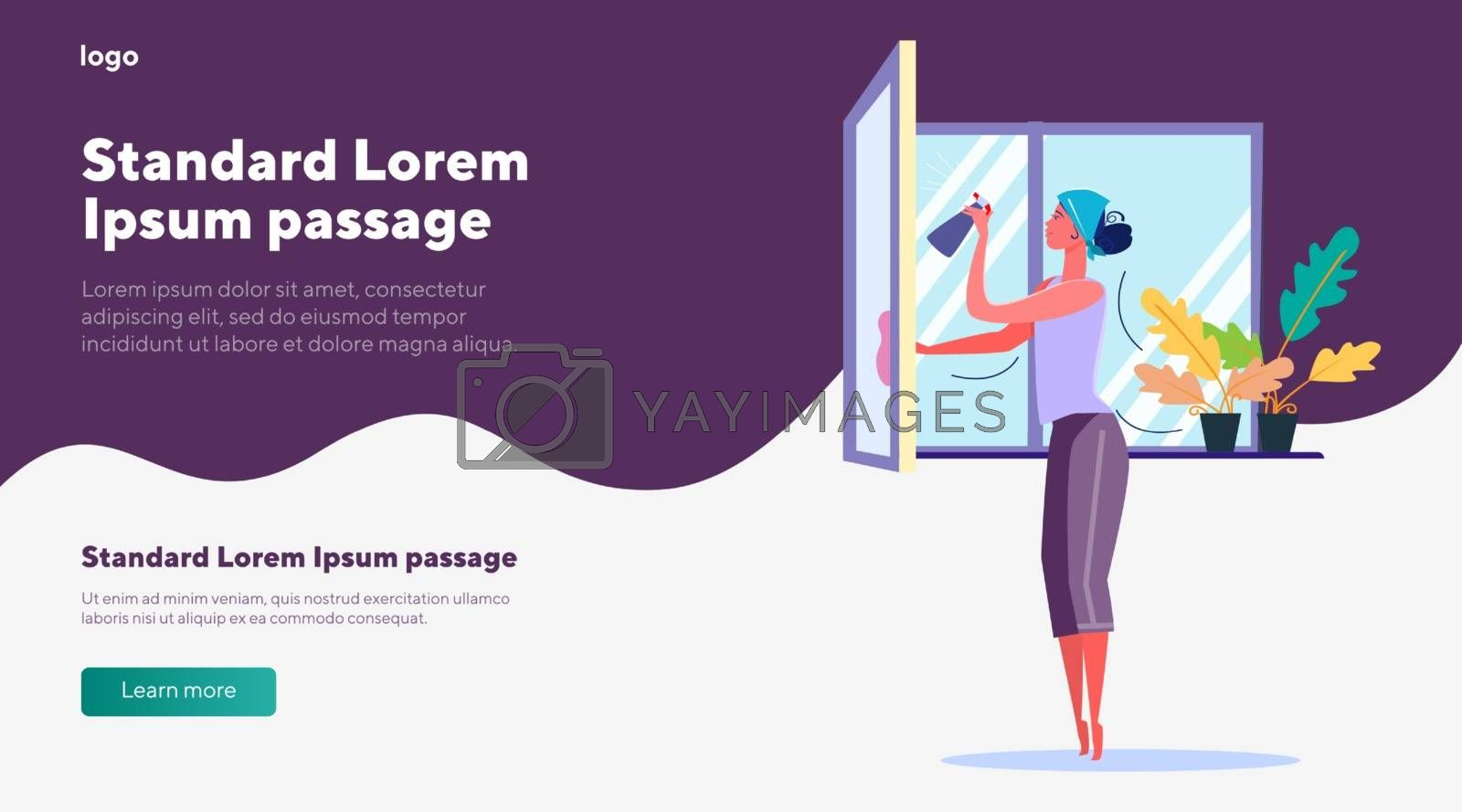 Housewife cleaning windows. Woman with dust cloth spraying glass cleaner on window flat vector illustration. Domestic chores, household concept for banner, website design or landing web page