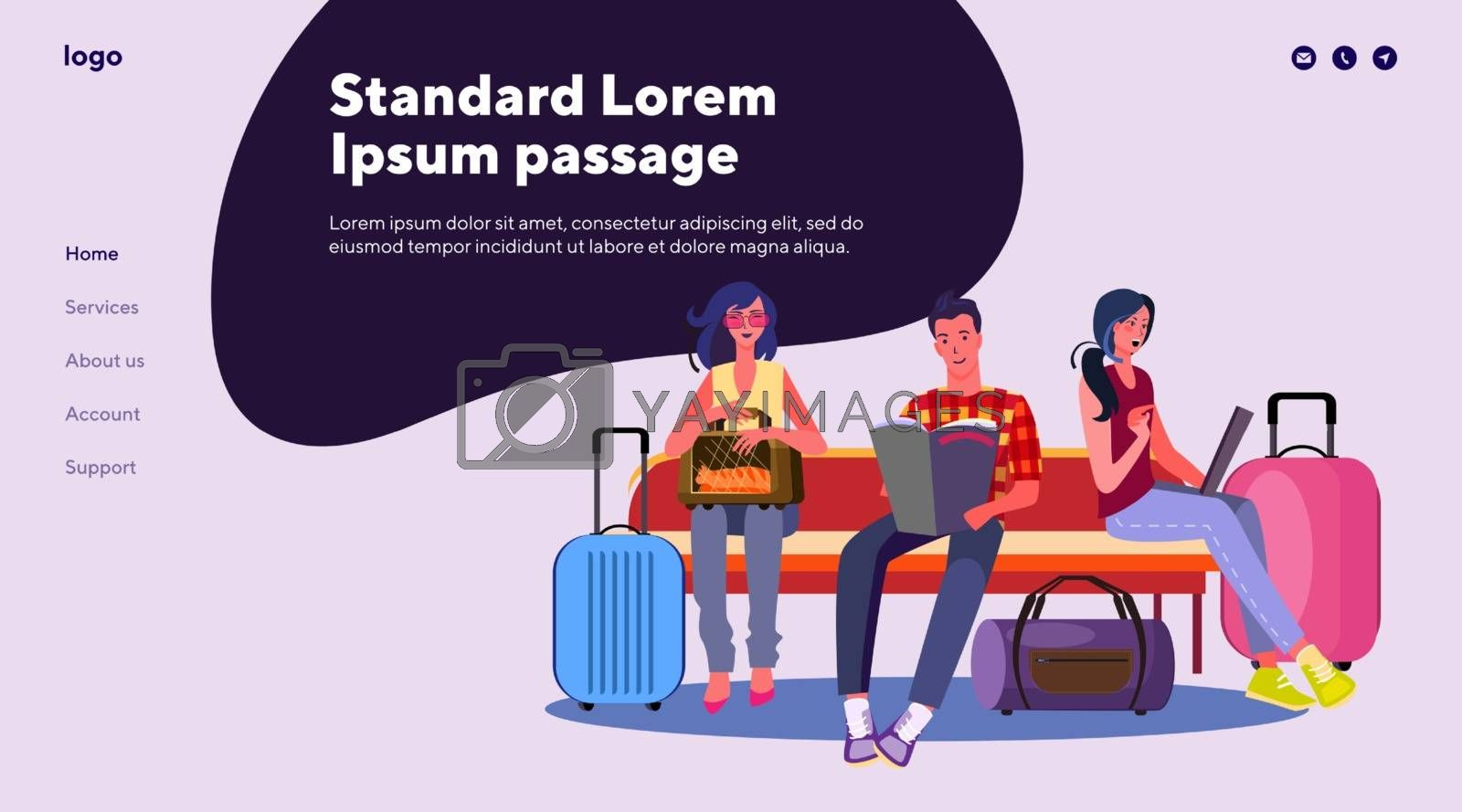 Group of people waiting for their flight. Airport, plane, luggage, expecting flat vector illustration. Tourism and travelling concept for banner, website design or landing web page