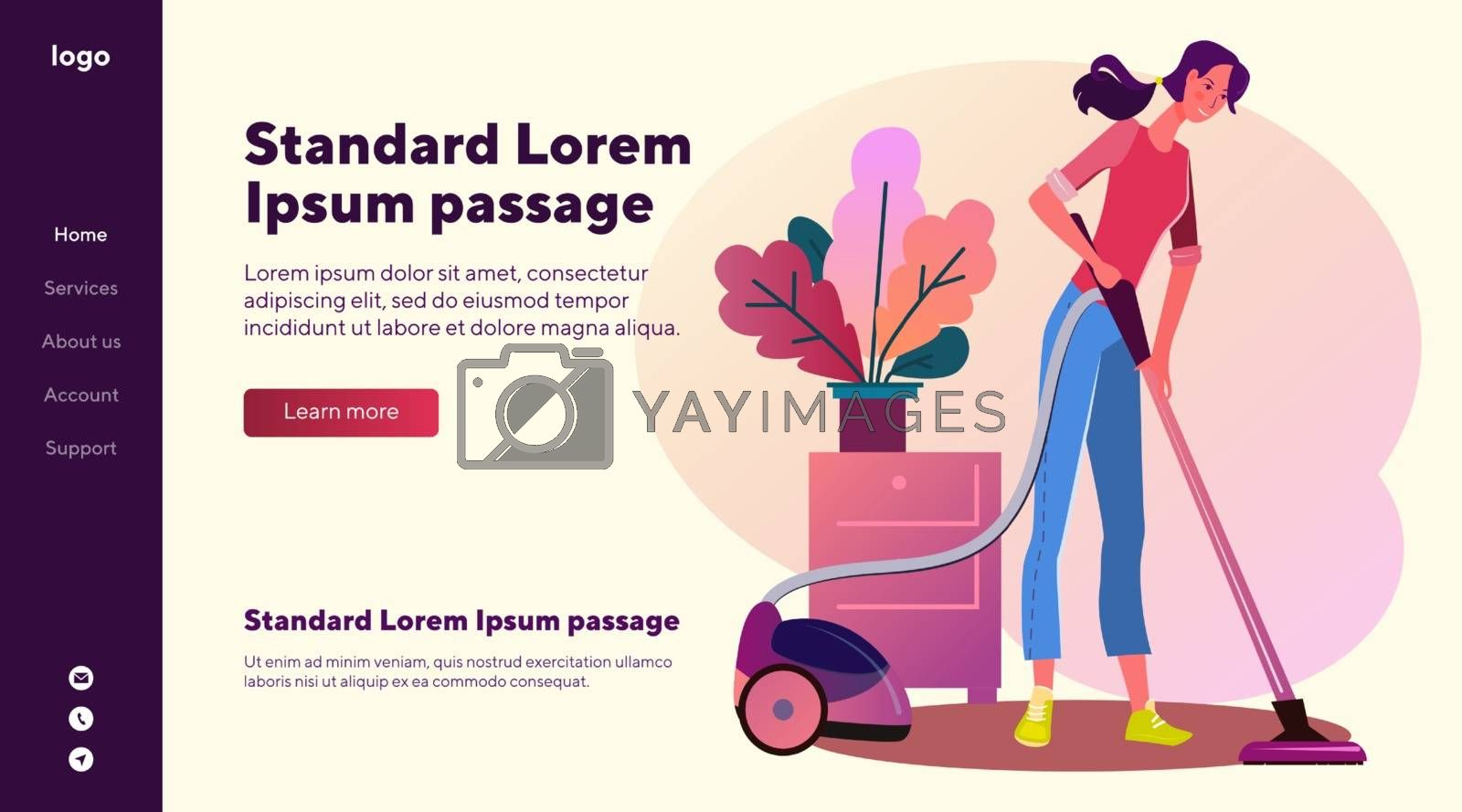 Housewife vacuuming carpet. Woman cleaning rug with vacuum cleaner flat vector illustration. Domestic chores, household concept for banner, website design or landing web page