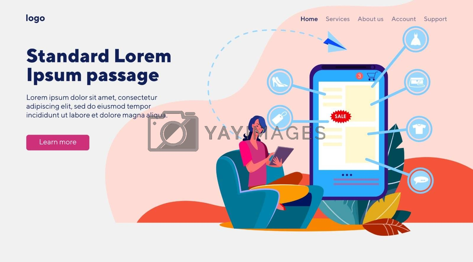 Girl shopping online. Woman using tablet, choosing clothes flat vector illustration. Ecommerce, internet store, customer concept for banner, website design or landing web page