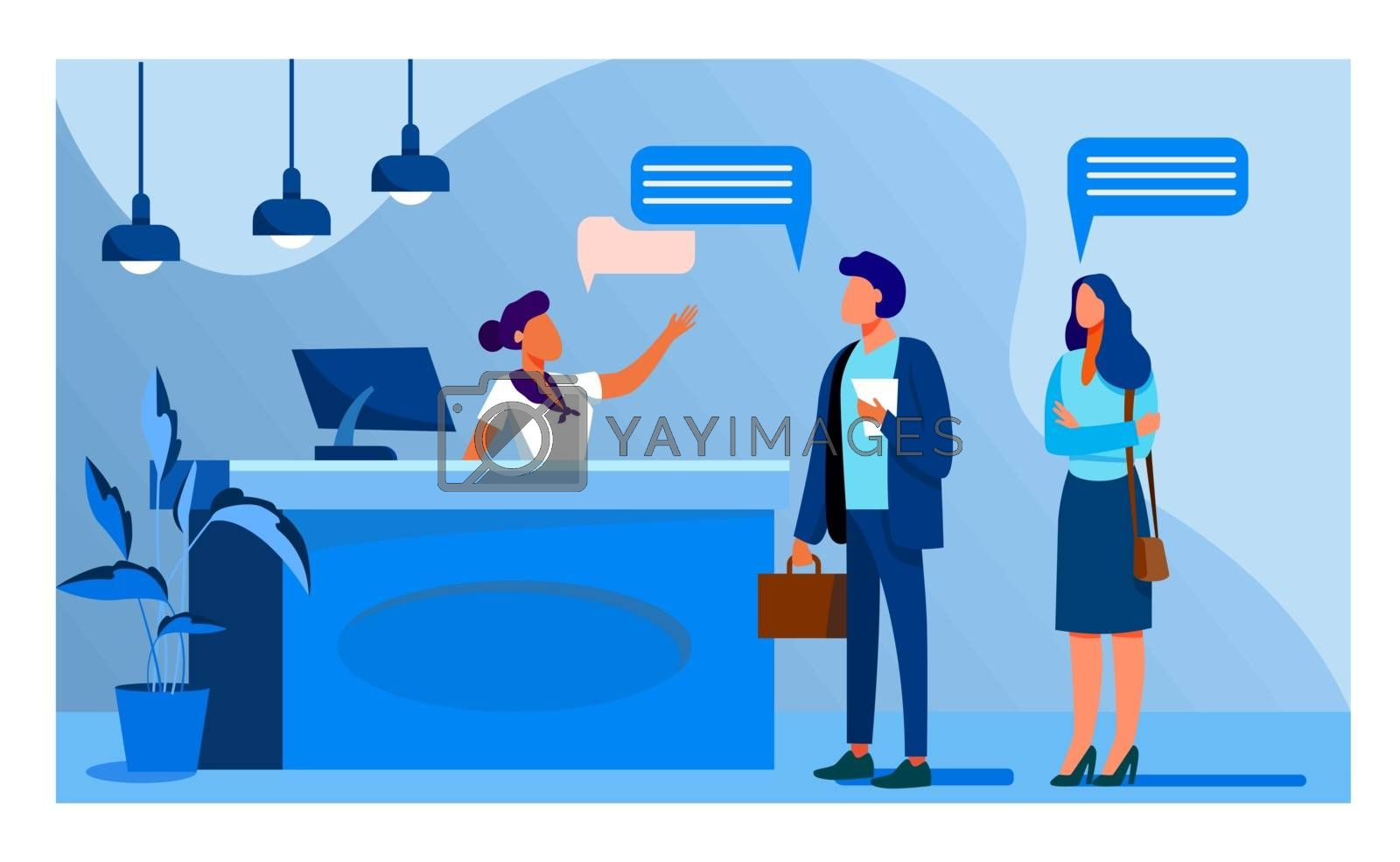 Receptionist job vector illustration. Customers consulting manager at reception. Tourists checking in to hotel, standing at desk in lobby