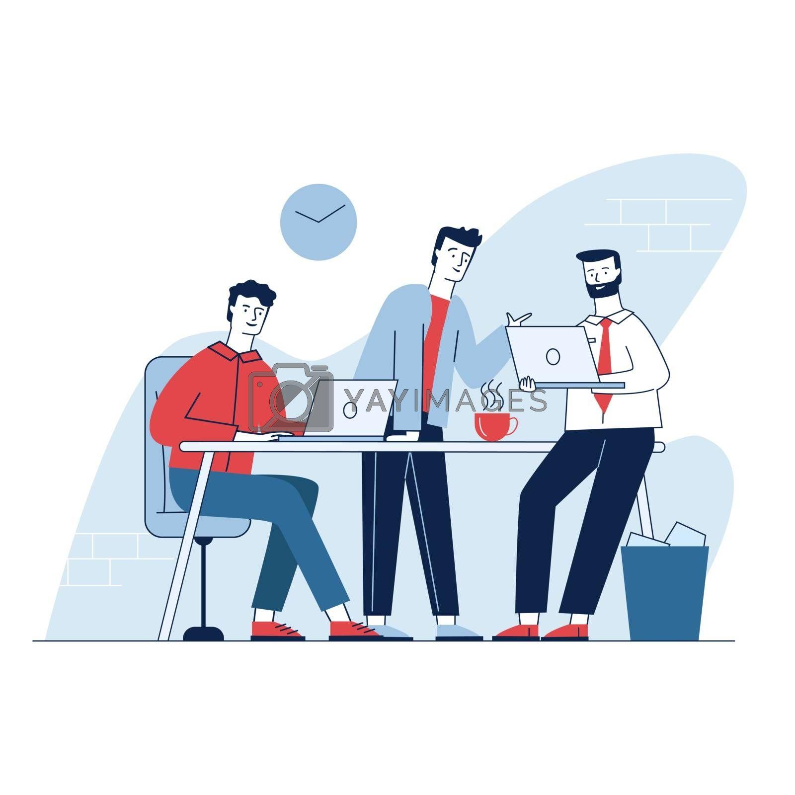 Three man having business meeting in office. Employees discussing work project flat vector illustration. Teamwork, discussion, conference concept for banner, website design or landing web page
